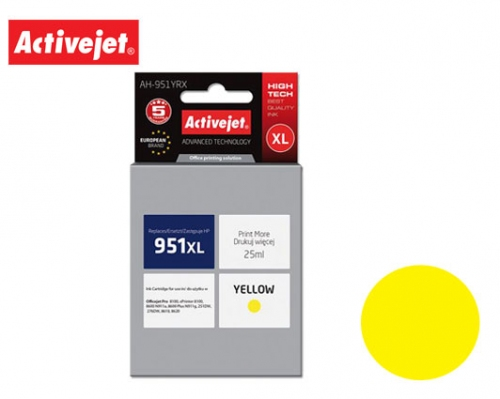 ACTIVE JET INK ΣΥΜΒΑΤΟ ΜΕ HP AH-951YRX #951XL YELLOW 25ml (Α) #CN048AE