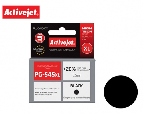 ACTIVE JET INK ΣΥΜΒΑΤΟ ΜΕ CANON AC-545RX #PG-545XL BLACK 18ml (Α) #8286B001