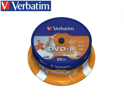 VERBATIM DVD-R 4.7GB 16X 25Τ. PRINTABLE CAKEBOX