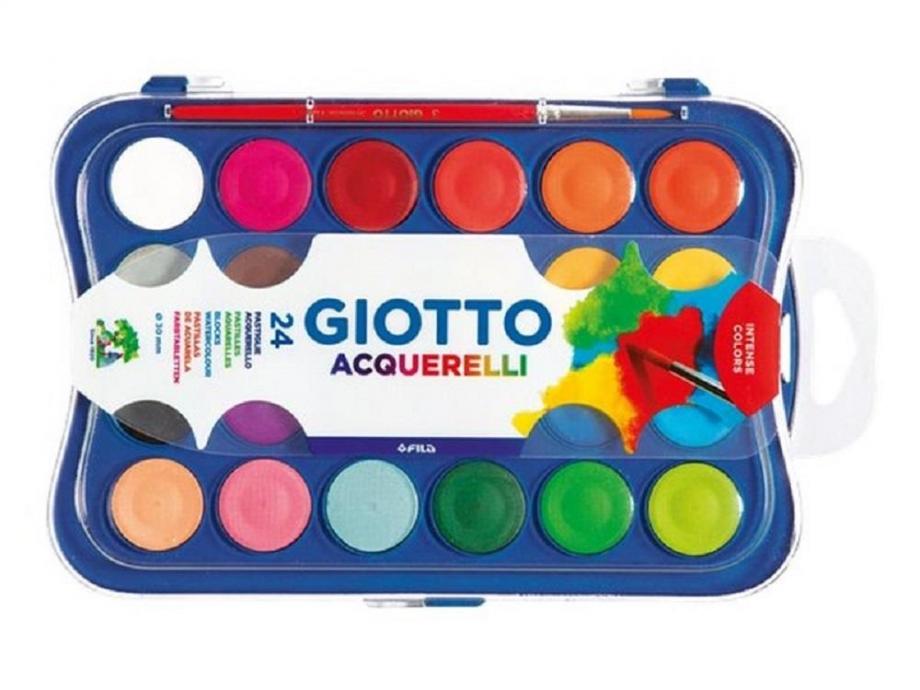 Νερομπογιές Giotto 30mm με πινέλο 24 τεμ.