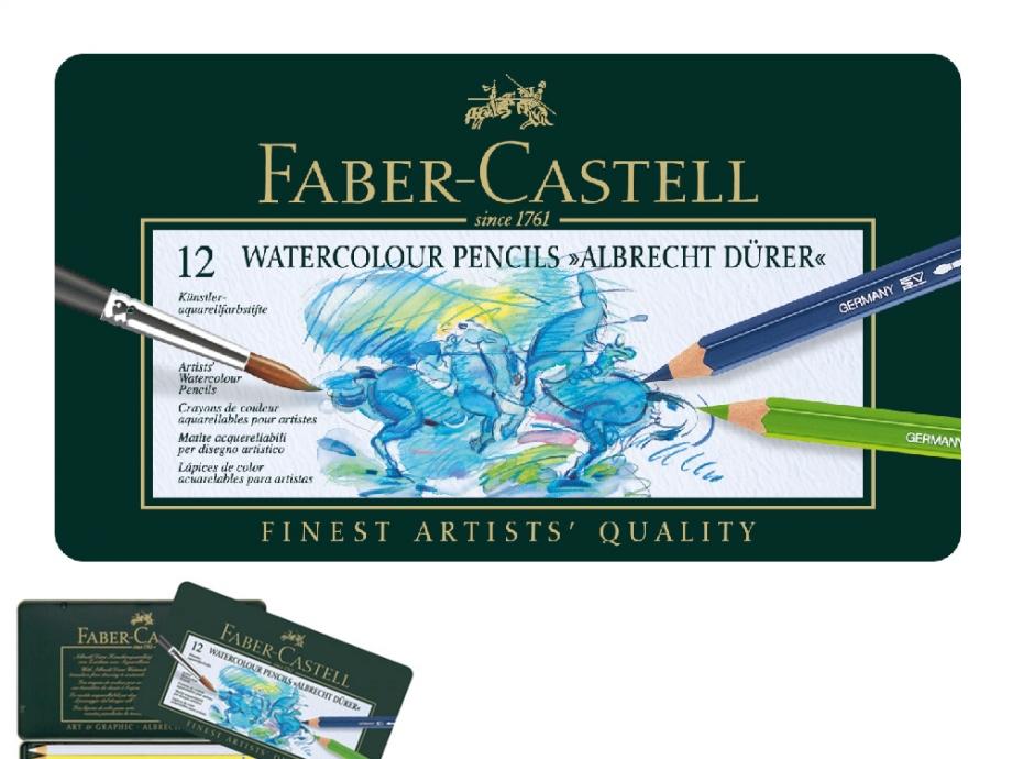 Ξυλομπογιές ακουαρέλας Faber 12τεμ 117512 μεταλλική κασετίνα
