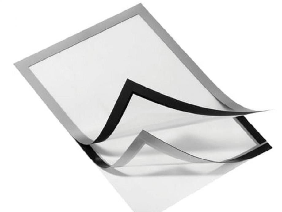 Θήκη πληροφόρησης A4 Duraframe μαγνητική αυτοκόλλητη ασημί
