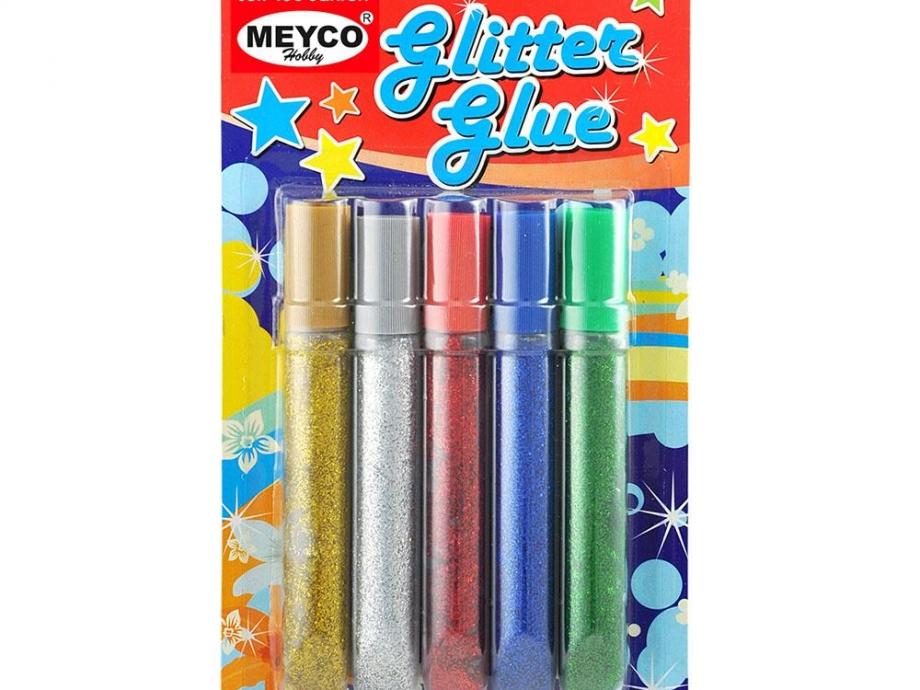 Glitter glue Meyco 10,5 ml σετ 5 χρωμάτων 14290