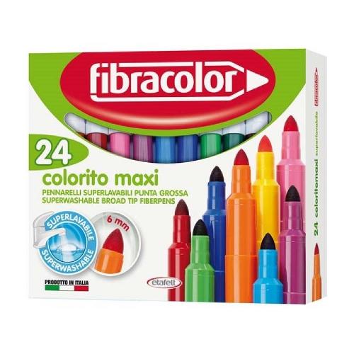 Μαρκαδόροι Fibracolor χοντροί 24 τεμ. colorito maxi washable