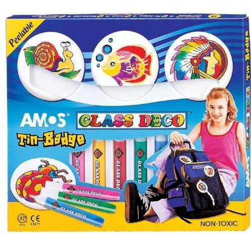 Χρώματα για τζάμι Amos 9χρ.+3 κονκάρδες