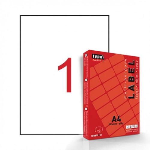 Ετικέτες αυτοκόλλητες Α4 210x297mm 1/φύλλο λευκές Typotrust TL0111