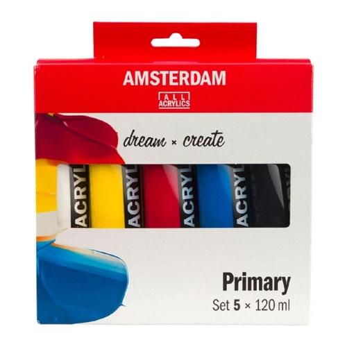 Σετ ακρυλικών Talens Amsterdam 5x120 ml primary