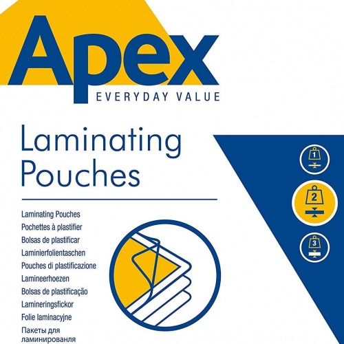 Δίφυλλα πλαστικοποίησης Α4 100mic Apex 100τεμ.