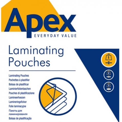 Δίφυλλα πλαστικοποίησης Α4 80mic Apex 100τεμ.