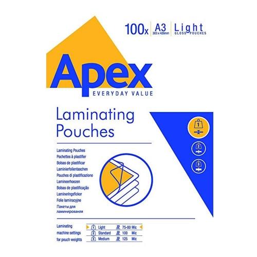 Δίφυλλα πλαστικοποίησης Α3 80mic Apex 100τεμ.