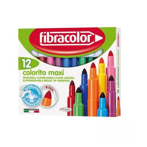 Μαρκαδόροι Fibracolor χοντροί 12 τεμ. colorito maxi washable