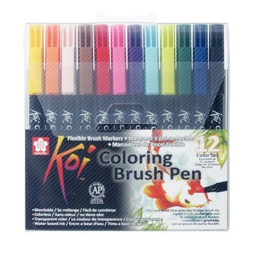 Μαρκαδόροι πινέλο Sakura Koi color brush 12 τεμ. 1-5 mm