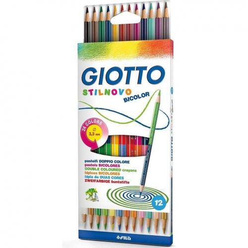 Ξυλομπογιές Giotto Stilnovo Bicolor διπλές 12 τεμ.