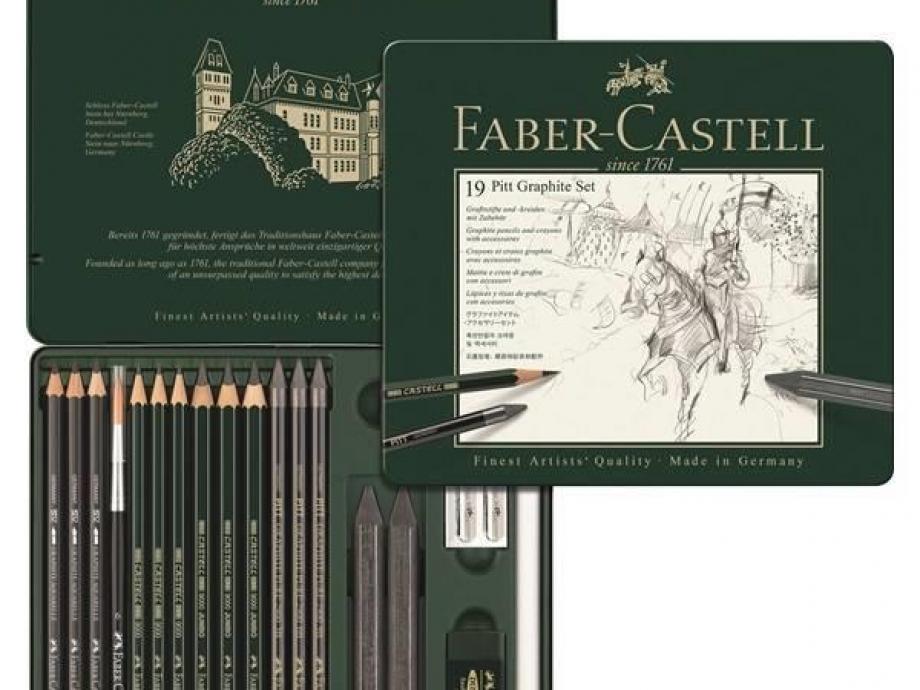 Σετ Faber Pitt Graphite μολύβια σχεδίου 19τεμ 112973 μεταλλική κασετίνα