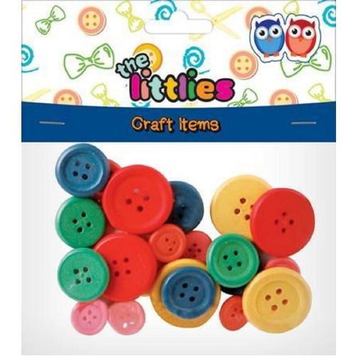 Κουμπιά ξύλινα The littlies 24 τεμ χρωματιστά