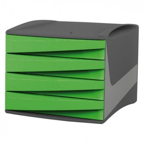 Συρταριέρα πλαστική 4 θέσεων Fellowes πράσινη
