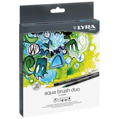 Μαρκαδόροι πινέλο Lyra aqua brush duo 24 τεμ. 1-5 mm