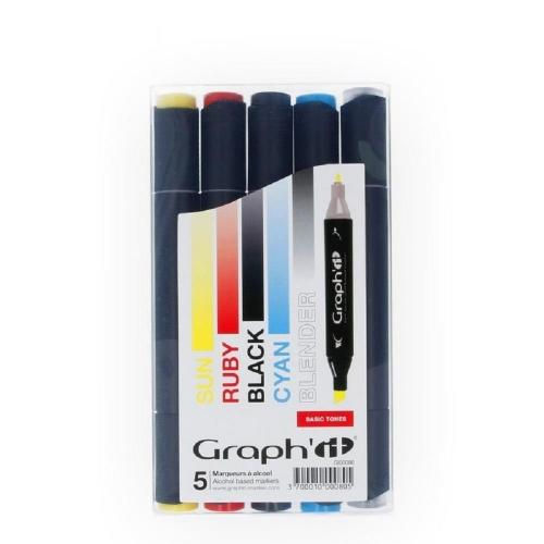 Μαρκαδόροι Graph 5 τεμ Basic tones 1-7 mm