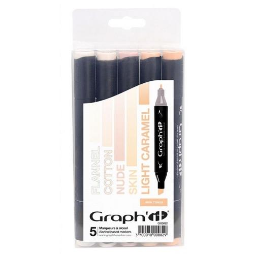 Μαρκαδόροι Graph 5 τεμ Skin tones