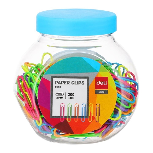 Συνδετήρες χρωματιστοί Deli 29 mm 200 τεμάχια