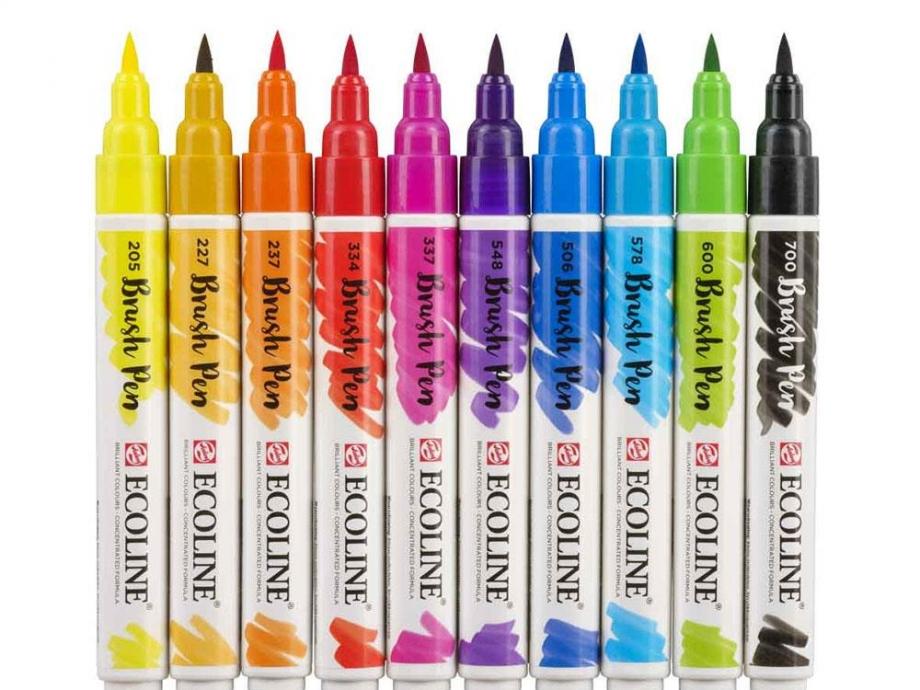 Μαρκαδόροι πινέλο Talens Ecoline brush pen 10 τεμ. 1-5 mm