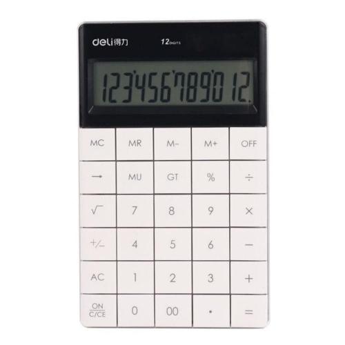 Αριθμομηχανή Deli 1589 12 ψηφίων λευκή