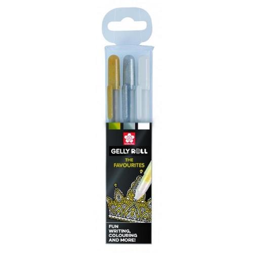 Στυλό Sakura Gelly Roll σετ 3 λευκό/χρυσό/ασημί