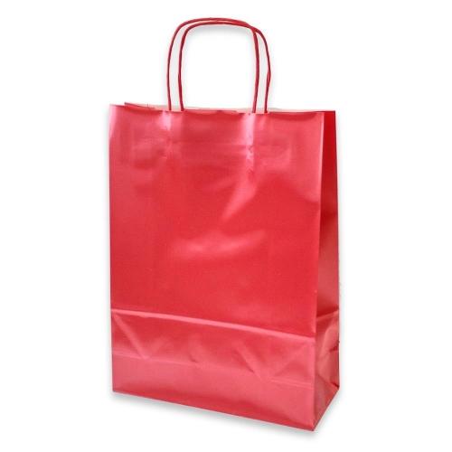 Τσάντα χάρτινη Bolis περλέ 27x11x36 cm κόκκινη