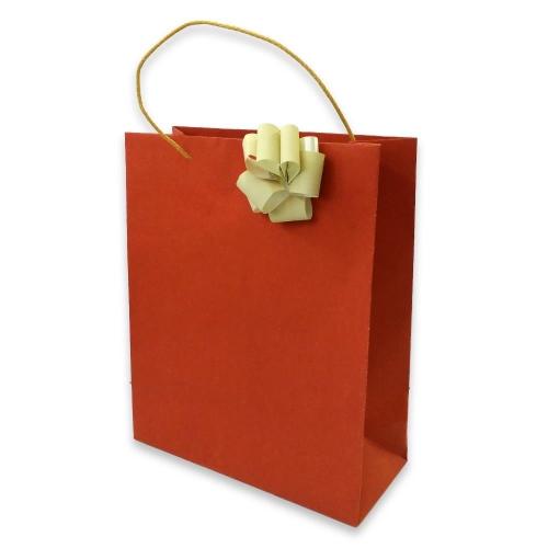 Τσάντα χάρτινη Bolis με κορδέλα 27x12x35 cm κόκκινη