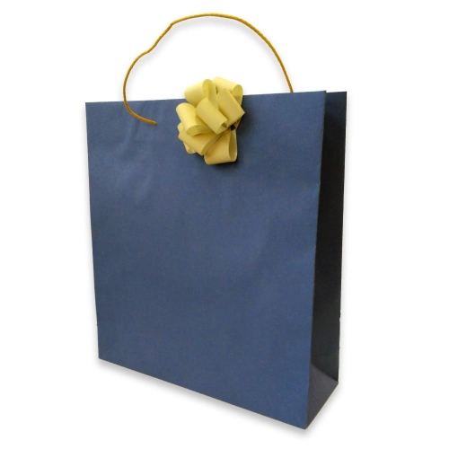 Τσάντα χάρτινη Bolis με κορδέλα 36x12x41 cm μπλε