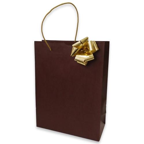 Τσάντα χάρτινη Bolis με κορδέλα 27x12x35 cm καφέ