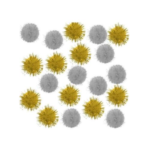 Πομ-πομ I-Mondi 25mm 20τεμ. χρυσό/ασημί