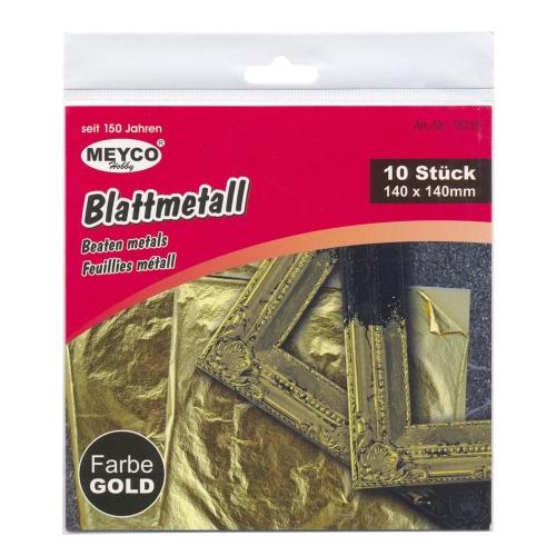 Φύλλα μετάλλου χρυσά 140x140 mm 10 φύλλα Meyco 15310