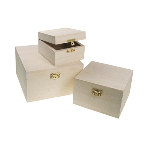 Κουτιά ξύλινα Meyco τετράγωνα σετ 3 τεμ 34610