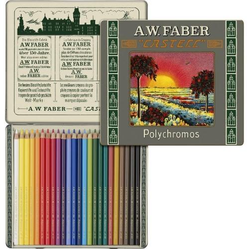 Ξυλομπογίες Faber 211002 Polychromos 24τεμ μεταλλική κασετίνα