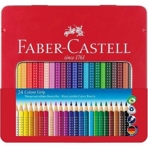 Ξυλομπογιές ακουαρέλας Faber grip 24τεμ 112423 μεταλλική κασετίνα