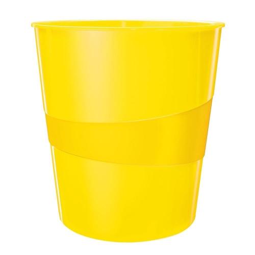 Καλάθι αχρήστων πλαστικό Leitz 5278 15L κίτρινο