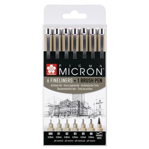 Μαρκαδοράκια Sakura Pigma Micron σετ 6 +1 τεμ μαύρα