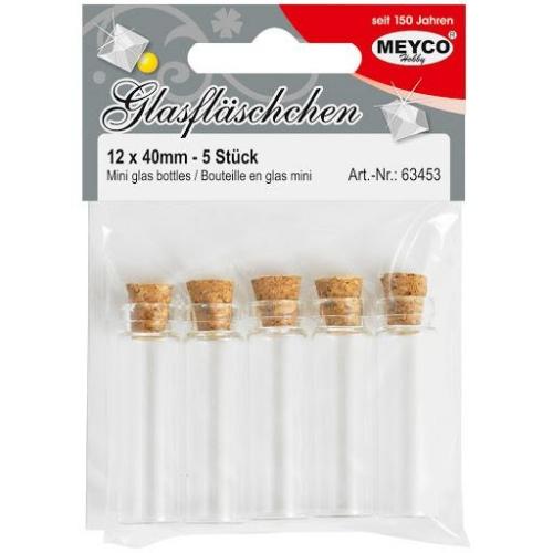 Μπουκαλάκια γυάλλινα με φελλό Meyco 12x40 mm 5τεμ