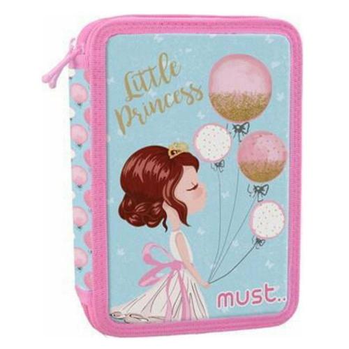 Κασετίνα φερμουάρ Must διπλή γεμάτη κορίτσι με μπαλόνια 579831