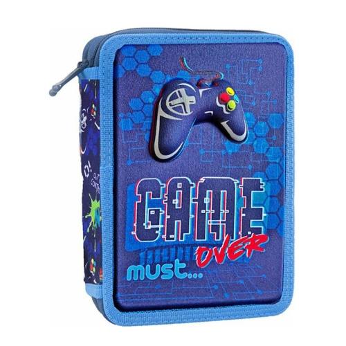 Κασετίνα φερμουάρ Must διπλή γεμάτη Game Over Blue 579848