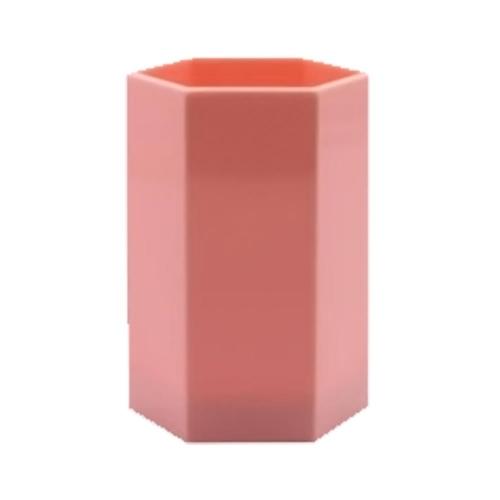 Μολυβοθήκη πολύγωνη πλαστική Metron παστέλ ροζ
