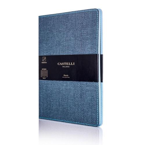 Σημειωματάριο 13x21 cm Castelli ριγέ Harris slate blue
