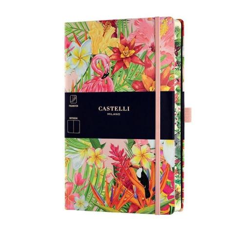 Σημειωματάριο 13x21 cm Castelli ριγέ Eden flamingo