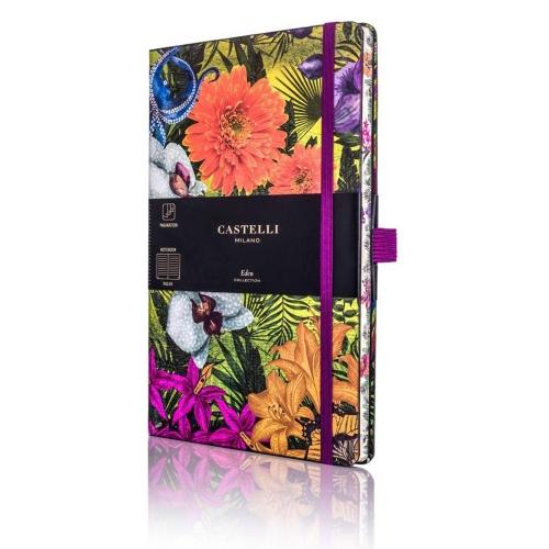 Σημειωματάριο 13x21 cm Castelli ριγέ Eden orchid
