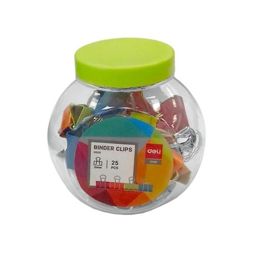 Πιάστρες Deli 19 mm χρωματιστές 25 τεμ.