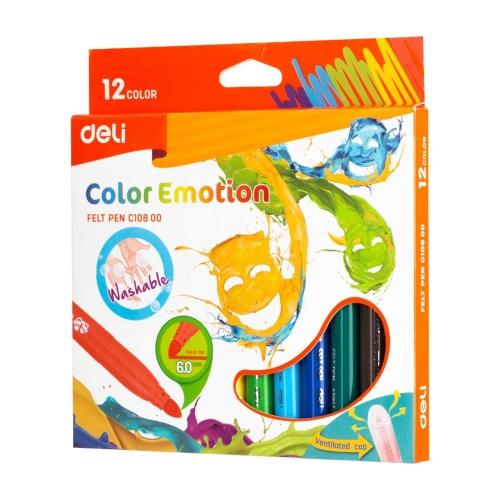 Μαρκαδόροι Deli Color Emotion χοντροί 12 τεμ.