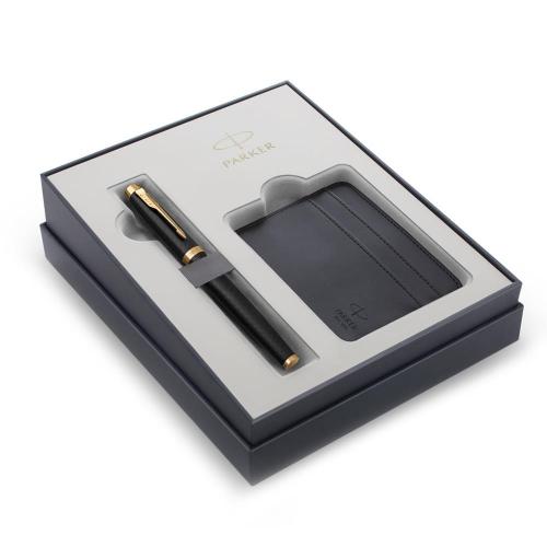 Σετ Parker IM Premium Black Gold GT πένα με θήκη για κάρτες δώρο