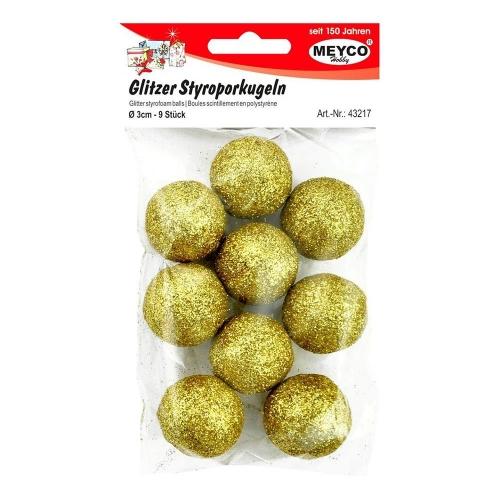 Μπάλες φελιζόλ Meyco Glitter 30mm 9τεμ. χρυσό 43217