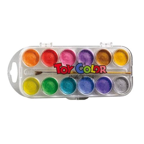 Νερομπογιές Toy Color με πινέλο 12 τεμ. περλέ